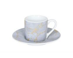 Espresso puodelis su lėkštele AUKSINĖ ŠIRDIS
