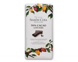 Juodasis šokoladas su kakavos pupelėmis SIMON COLL 70%, 85g